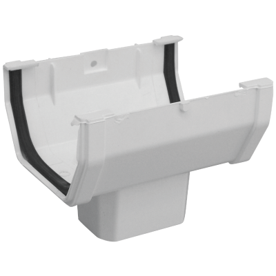 Raingo 5 In. Vinyl White Duraspout Gutter A-Drop Outlet