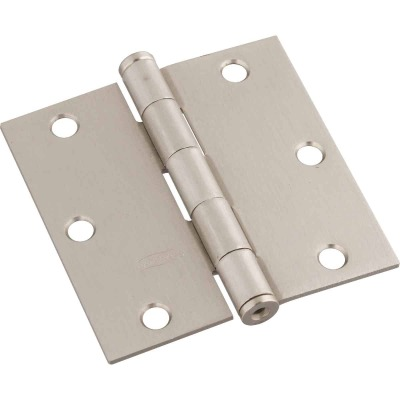 National 3-1/2 In. Square Satin Nickel Door Hinge