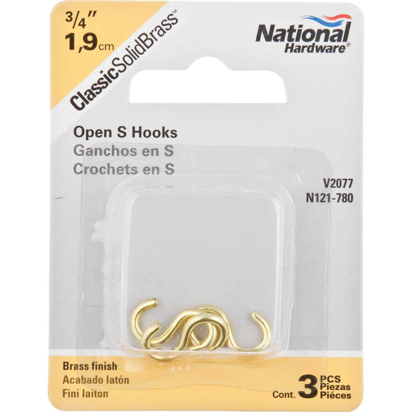 National 3/4 In. Brass Heavy Open S Hook (3 Ct.) Image 2
