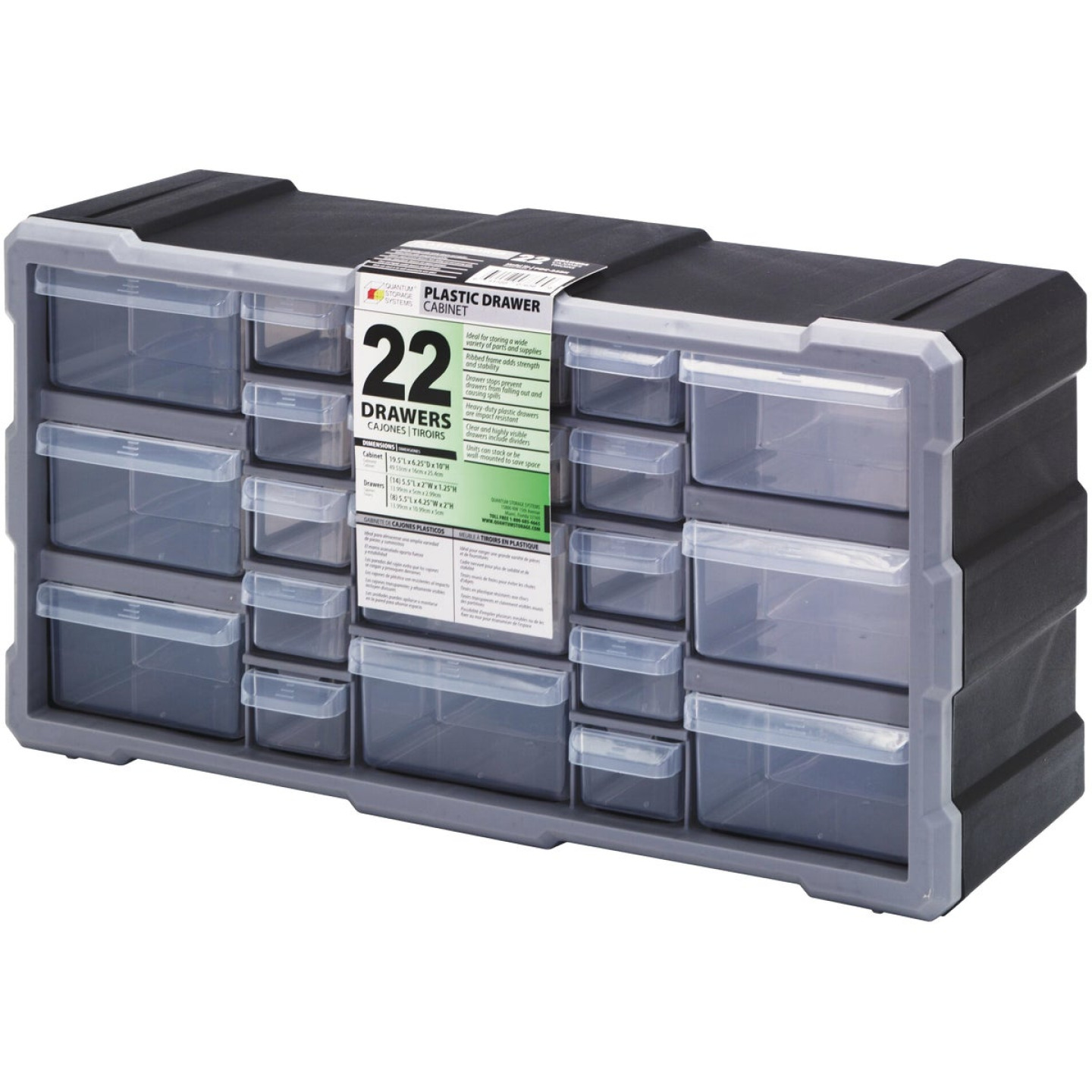 Quantum Storage 19.50 In. W x 10.25 In. H x 6.25 In. L Small Parts Organizer with 22 Drawers Image 1