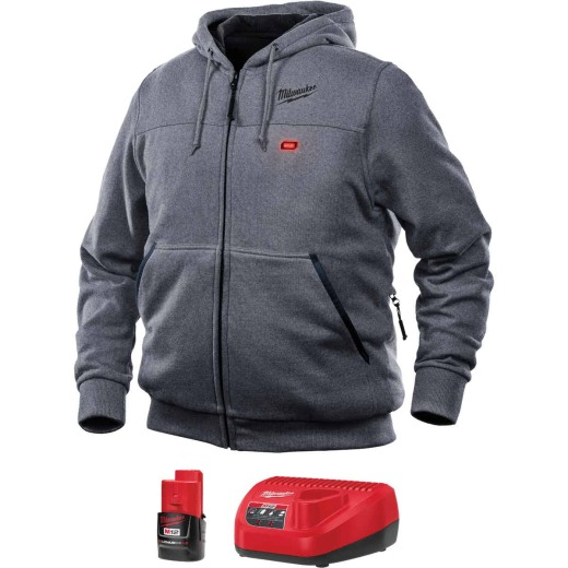 Milwaukee M12 Medium Gray Men's Heated Full Zip Hooded Sweatshirt